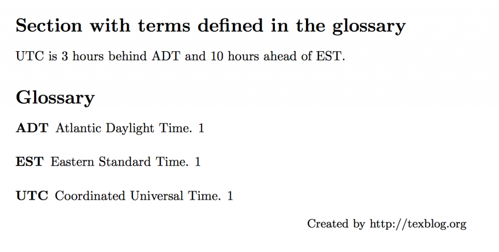 LaTeX Glossary And List Of Acronyms – Texblog